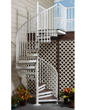 Trex spiral stairs for exterior decks trex corporation for 4 foot spiral staircase