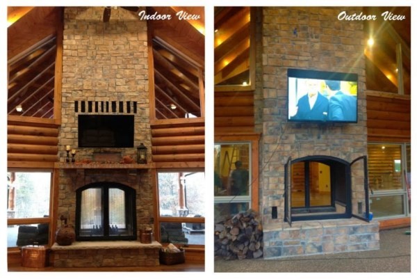 Custom see through wood burning indoor outdoor fireplace for Wood burning fireplace construction