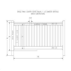 Single Family 1.5 Dia. Vertical (96)-Country Estate Fence, Deck and Railing
