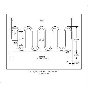 RB 11 I G - 11 Capacity Inground Galvanized Bike Rack-A A A RIBBON Bike Rack Co. Div.