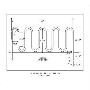 RB 11 I S - 11 Capacity Inground Stainless Steel Bike Rack-A A A RIBBON Bike Rack Co. Div.