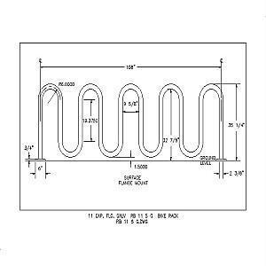 RB 11 S G - 11 Capacity Flange Galvanized Bike Rack-A A A RIBBON Bike Rack Co. Div.