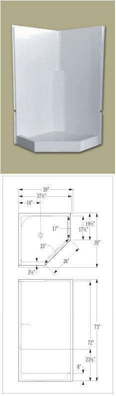 Model 2pc 38 Neo Fiberglass Shower Remodeling Unit