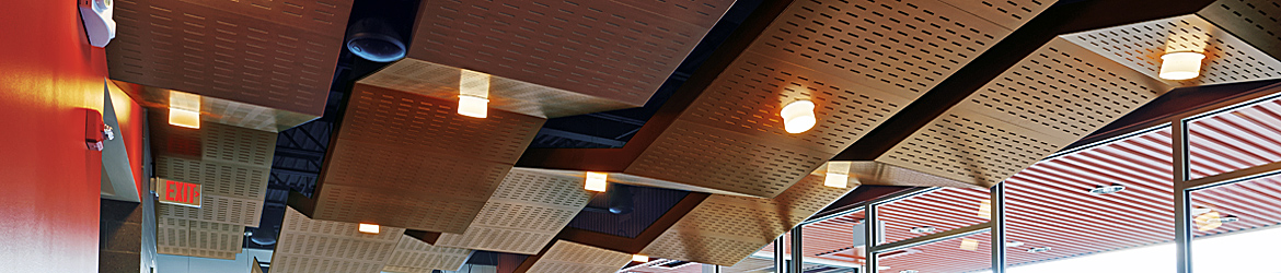 Acoustical Clouds with WoodWorks® Concealed Ceiling Panels - Armstrong World Industries