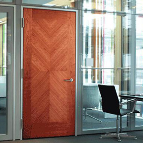 Interior Aluminum Frame with STC 35 Wood Door-Frameworks