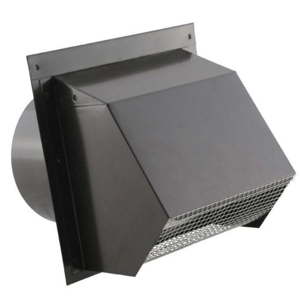 Hooded Wall Vent - Screen, Damper, Spring & Gasket - HD Powder Coat Black 6 inch - WVEBH6BK