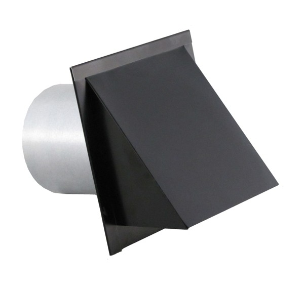 Hooded Wall Vent with Short Tube, Screen, Damper, Spring and Gasket - WVE4