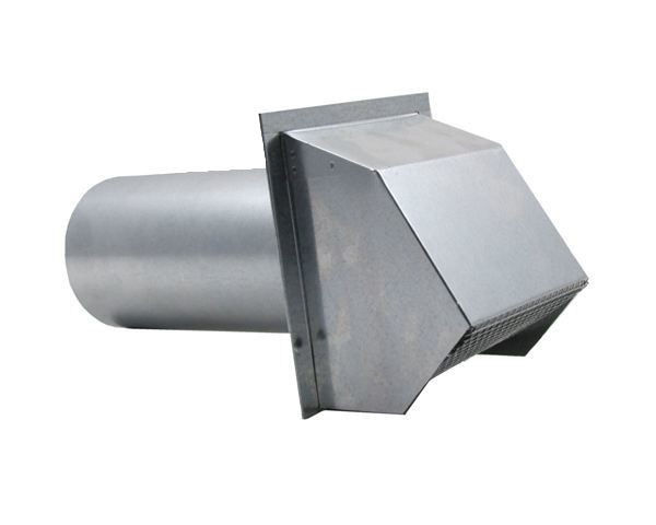 Hooded Wall Vent with Spring Loaded Damper, Gasket and Screen - Galvanized - WVEBG