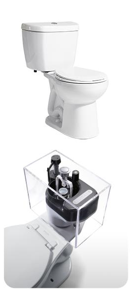 "A - 0.8 GPF Single Flush Stealth® Toilet - 12"" Rough-In - Round"