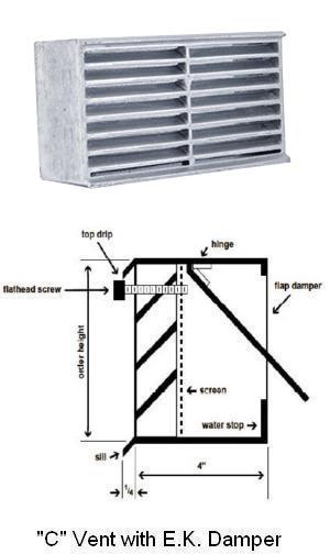 Model C- Cast Aluminum Brick & Block Vents