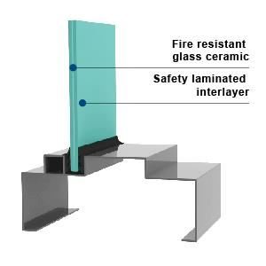 KERALITE LAMINATED 90 in VDS HM - Fire Rated Laminate Glass in VDS Hollow Metal Frames