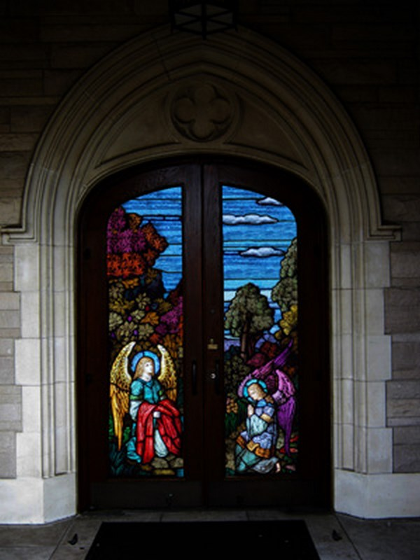Stained glass doors stained glass inc sweets for Exterior glass doors for churches