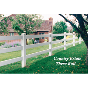 3 Rail Fence Post Rail Style Vinyl Fencing Country Estate Fence