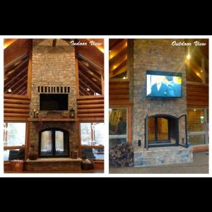 Custom See-Through Wood-Burning Indoor Outdoor Fireplace ...