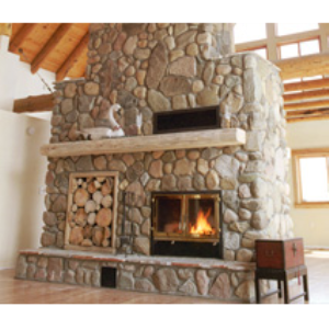 The great room see through wood burning fireplace for Wood burning fireplace construction