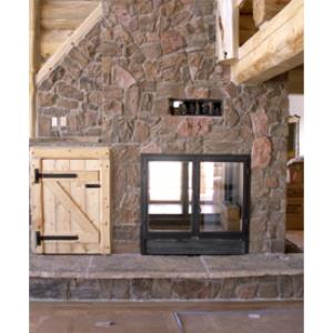 The lodge see through wood burning fireplace acucraft for Wood burning fireplace construction