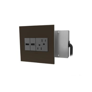 Wiremold   Furniture Power, Outlet And 2 USB Ports, Magnesium
