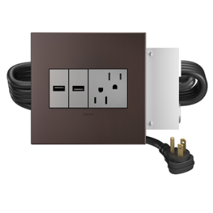Wiremold Furniture Power Outlet And 2 USB Ports Magnesium