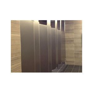 Ceiling hung stainless steel toilet partitions hadrian for Stainless steel bathroom partitions