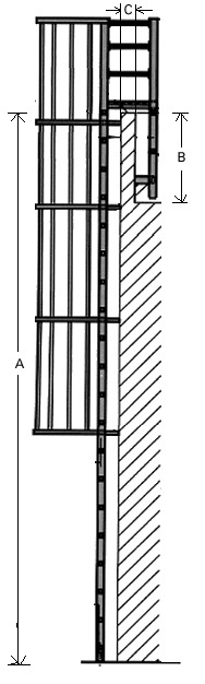 Model 533 Cage Ladder - High Parapet Access with Platform and Return