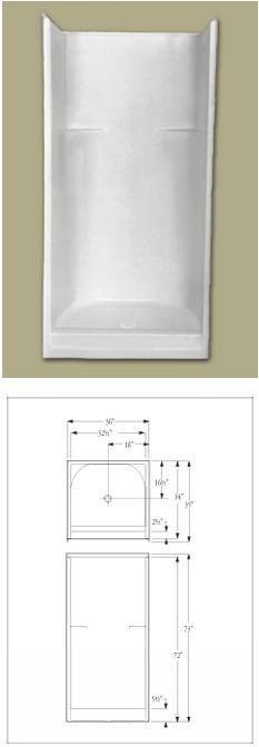 model 363w fiberglass shower stall
