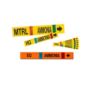 Self-Adhesive Ammonia Pipe Markers MS-900 With MS-1000 Ammonia Markers