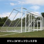 "Douglas Industries, Inc. - CLUB Portable Soccer Goals, 3"" Round Aluminum, Official Size with 4mm Nets"