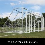 "Douglas Industries, Inc. - CLUB Portable Soccer Goals, 3"" Round Aluminum, 7'H x 21'W with 4mm Nets"