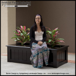 Planters Unlimited - Bench Planter With Various Artificial Plants