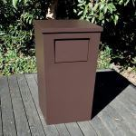 Planters Unlimited - Modern Tapered Square Fiberglass Trash Receptacle with Flap and Lid - 24in.Sq. x 42in.H