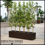 Planters Unlimited - 8'L Bamboo Outdoor Artificial Grove in Modern Fiberglass Planter