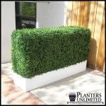 Planters Unlimited - Boxwood Hedge Privacy Screen in Modern Fiberglass Planter 72in.L x 12in.W x 72in.H, Outdoor Rated