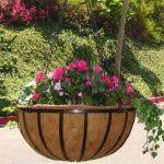 "Planters Unlimited - 18"" English Garden Flat Steel Hanging Basket"