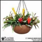"Planters Unlimited - 21"" Bronze Hanging Basket"