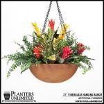 "Planters Unlimited - 21"" Rusted Corten Steel Hanging Basket"