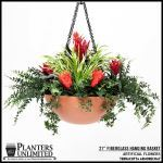 Planters Unlimited - 21in. Fiberglass Hanging Basket, includes chain and swivel hook