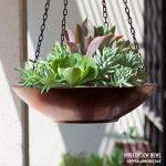 Planters Unlimited - 24in. Modern Low Bowl Hanging Basket
