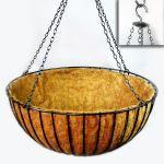 "Planters Unlimited - 42in. XL ""Mega"" Hanging Flower Basket, Commercial Strength - includes Coconut Coir Liner & Heavy Dut"