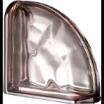 Seves Glass Block Inc. - Pegasus Metallizzato Pink Curved Terminal Wavy Metallised Glass Block