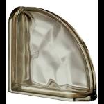 Seves Glass Block Inc. - Pegasus Metallizzato Siena Curved Terminal Wavy Metallised Glass Block