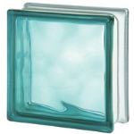 Seves Glassblock - Turquoise 1919/8 Wave Coloured Glass Block