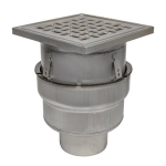 BLÜCHER - BFD-230 - Adjustable Floor Drain with 12in. x 12in. Square Top, Bottom Outlet