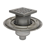 BLÜCHER - BFD-110 - Adjustable Floor Drain with 8in. x 8in. Square Top, Membrane Clamp, Bottom Outlet