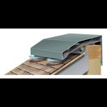 Metal-Era, Inc. - Hi-Perf Ridge Vent Sloped Roof Meets Vertical Wall Version