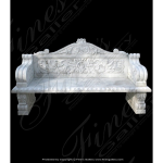 Fine's Gallery - Ornate White Marble Bench - MBE-372