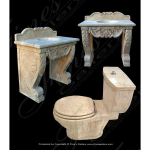Fine's Gallery - Cream Marble Sink & Toilet Set - KB-131
