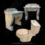 Fine's Gallery - Cream Marble Sink & Toilet Set - KB-131