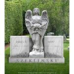 Fine's Gallery - Angel Double Stone Marble Memorial - MEM-117