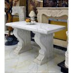 Fine's Gallery - Pure White Marble Credenza Foyer Table - MT-131
