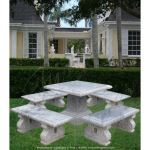 Fine's Gallery - Square Marble Table w/Benches - MT-154